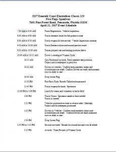 2017 Emerald Coast Schedule